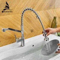Torneiras de cozinha Wanfan Modern Polido Chrome Brass Faucet Pull Out Single Handle Swivel Spout Sexter Mixer Tap 9013L CRH2