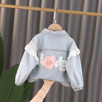 Jackets 1-3 Year Children's Denim Spring AutumnJackets Girl Flower Jean Girls Kids Clothing Baby Lace Coat Casual Outerwear