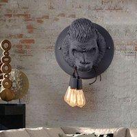 Modern Resin Gorilla Wall Lamps Industrial Retro Led Sconce Loft Bedroom Bedside Light Home Decor Fixtures Luminaire Lamp