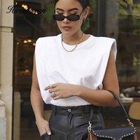 Hirsionsan Yaz Kolsuz T Shirt Kadınlar 2020 Yeni Sıcak Zarif Pamuk Tees Ins Tasarım Chic Katı Kahverengi Haki Yelek Tops CX200713