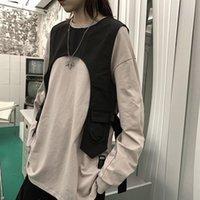 Black Chest Rig Rock Shoulder Vest For Men Cool Streetwear Bag Tactical Light Detachable Accessory Women's Vests