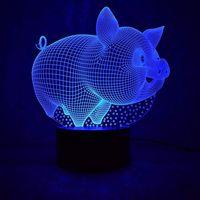 7 Lampada da colori 3D LED Pig Night Light Lampada per bambini Touch Tavolo USB Lampara Baby Dormire Nightlight Regalo di compleanno Natale