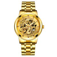 Fashion Calendar Mens Watch Steel Belt Nonmechanical Business Waterproof Square Diamond Chinese Dragon Watchs