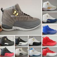 저렴한 최고 품질 12 xii 12s 남자 농구 신발 흰색 택시 독감 게임 프랑스어 블루 감마 블루 플레이 오프 운동화 부츠 6-8-9-10-11-13