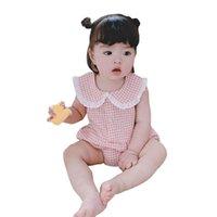 Tulum Doğan Bebek Bebek Kız Kolsuz Romper Yaz Yaka Düğme Ekose Baskılı Tulum Yapış Kasık Tank Top Bodysuit