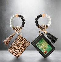 Leather Card Bag Tassel Charm Bracelets Silicone Bead Wristband Cuff Wallet Keychain for Women Children Fashion jewelry
