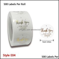 Gift Wrap Event Festive Party Supplies Home & Garden500Pcs Thank You Your Order Stickers Gold Foil Seal Label For Small Shop Wedding Envelop