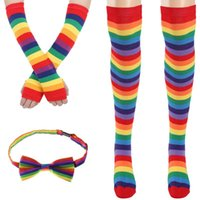 Socks & Hosiery Halloween Stockings Sexy Knee High Stripe Fashion Rainbow Happy Funny Arm Warmer Gloves Bow Tie Women Set