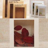 حزمة مربع مع نافذة أبيض أسود كرافت ورقة مربع مع pvc نافذة الزفاف هدية عيد حزمة مربع 177 v2