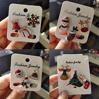 3pcs / 세트 메리 브로치 양말 나무 엘크 에나멜 핀 배지 작은 옷깃 브로치 여성 패션 파티 크리스마스 쥬얼리 선물