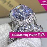 Choucong Klasik Benzersiz Jewels 925 Ayar Gümüş Öpücükler Formu 5A Zirkonya Grand CZ Promise Düğün Nişan Yüzüğü Seti