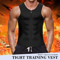Gym Clothing Weight Loss Slimming Waist Trainer Vest Men'S Body Shaper Sweat Sports Underwear Fat Burner Neoprene Black