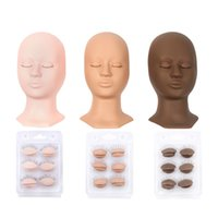 2021 Professional Lashes Silicone Training Mannequin Heads + 4 Pairs Removable Eyelids Lifelike detachable eye Graft Eyelashes Extension Makeup Beauty Tools