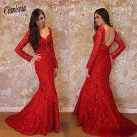 Платья для вечеринок 2021 Mermid красный вечернее платье с длинным рукавом с длинным рукавом кружева русалка V