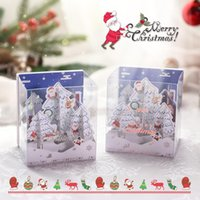 Greeting Cards Merry Christmas Music 3D UP Card Santa Xmas Festival Year Invitations Winter Holiday With Envelopes