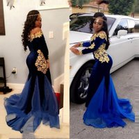 Aso Ebi Velvet Prom Dresses Mermaid Long Sleeves Off The Shoulder Gold Appliques Plus Size Women Evening Party Gowns