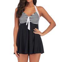 Women's Swimwear Women Plus Size Striped Tankini Swimjupmsuit Ribbed Bather Bathing Suit Swim Swimsuit Beachwear Padded 2021 5XL