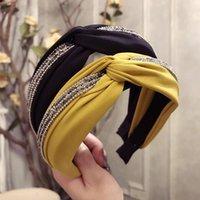 Accessoires de cheveux Q Femmes Bandeaux de Couleur Solide Crystal Tissu Cristal Knot Bandeau Hoop Bandeau de Luxe Lunettes Accessibles Bandes de poils latéraux Filles