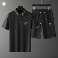 Футболка Huashang мужская одежда европейская мода бренд легкий роскошный досуг лето тяжелый ремесленник вышивка отворота футболки шорты костюм