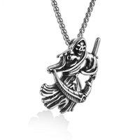 Винтаж смерти серпа черепа ожерелья для мужчин ему скелет мрачный жнец готическое ожерелье из нержавеющей стали панк ювелирные изделия