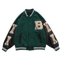 Lacble SS HIP HOP SURRY OS Patchwork Color Block Vestes Mens Harajuku Streetwear Bombardier Jacket Hommes Baseball Coats Unisexe 210901