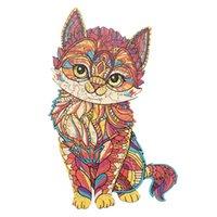 Banlv Оригинальная деревянная в форме головоломки красочные кошка деревянные головоломки животные нерегулярные формы головоломки экзотические подарки для мужчин и женщин творческие