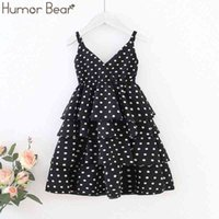 Humor Bear Girls Dress Summer New Polka Dot Vest V-neck Check Sleeveless Princess Girl Baby Toddler Cake 210430