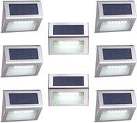 8 팩 6 LED 태양 램프 야외 조명 갑판 조명 차가운 화이트 자동 온 / 오프 스테인레스 스틸 스테인레스 계단 경로 파티오 비바람
