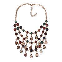 Chokers JERPVTE Fashion Multi-color Crystal Water Design Tassel Statement Necklaces & Pendants Elegant Wedding Choker Collar Necklace