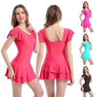 Summer Women Dresses one-piece swimsuit Fashion Swimwear Bathing Suit big breasted thin boxer swimsuit belly cover one-piece short-sleeved skirt Plus Size