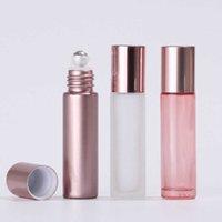 10ml oro rosa olio essenziale essenziale per foraggio bottiglia bottiglia di vetro rotolo di vetro bottiglia a sfera in acciaio a sfera di cristallo