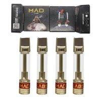 미친 랩 vape 펜 catridges 세라믹 코일 분무기 510 빈 카트리지 0.8ml 일회용 전자 담배 평면 팁 카트 유리 두꺼운 오일 기화기 펜