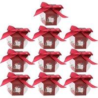 10 pz Scatole di caramelle cinesi Borse da sposa Borse da sposa Carta regalo (rosso) involucro