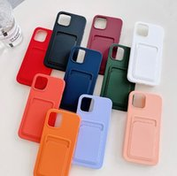 For Iphone 13 12 cases mini 11 PRO XR XS MAX X 6S 7 8 plus TPU soft rubber silicone cell phone matte slim cover luxury with credit card bag slots