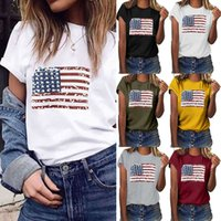 popular women's round neck short sleeve T-shirt Street trend US flag printed
