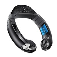 Electric Fans Neck Fan Hands Free Mini USB Charging Bluetooth Player Portable Sport Hanging Music Sound Air Cooler Black
