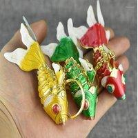 جميل تتحرك المينا ذهبية كوي الأسماك المفاتيح كيرينغ الصين مصوغة بطريقة مجوهرات الحيوان مفتاح السيارة سحر قلادة هدية العرقية 10PCS1