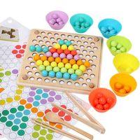Candywood Wood Multifunktions-Perlen-Puzzlespiel-Spiel Kinder Montessori Pädagogisches Spielzeug Clip-Perlen Holzspielzeug für Kinder lernen 210329