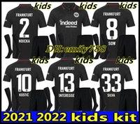 21 22 Eintracht Frankfurt Jersey di calcio 2021 2022 Die Adler Sow Silva Kostic Kovic Kit Kit Kit HaSebe Kamada Hinteregger Maillot deley Camicia.