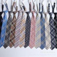 JKDK in stile giapponese plaid cravatta pigro nodo-free 7cm Internet celebrità studente uniforme cravatta regolabile in magazzino