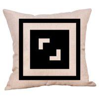 Geomety PatternPillow Casis clásico blanco y negro Cojín negro 45 * 45 cm Poliéster cubierta decorativa decoración decoración de la funda de almohada
