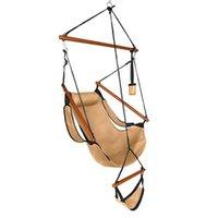Amerikaanse voorraad Oxford doek opknoping stoel bruin hangmatten hardhout met bekerhouder houten stok geperforeerde 100kg kust binnenplaats