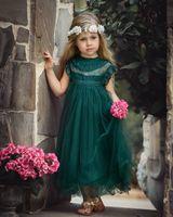 Ins Girls Princess Dressクラシックキッズレースフライスリーブチュールドレスキッズパーティー服ボールガウンA7438