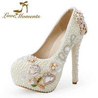 Marfil perla boda zapatos nupciales cristal flor de novia vestido magnífico diseño amor matrimonio bombas tacones a juego