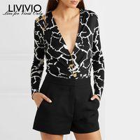 [LIVIVIO] Print Pin Decorate Deep V Neck Tops Long Sleeve Blouse Women Bodycon Tights Female Fashion Clothing New T200429