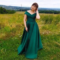 Emerald Green Prom Dresses Long 2021 Elegant Off Shoulder Satin Dress Woman Party Night Cheap Plus Size robe de princesse femme