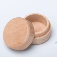 NEWBeech Wood Small Round Storage Box Retro Vintage Ring Box for Wedding Natural Wooden Jewelry Case LLB10416