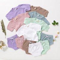 Детская одежда наборы детей носить чистый хлопок удобный с короткими рукавами ремни верхних треугольник шорты 2 часа GWC6937