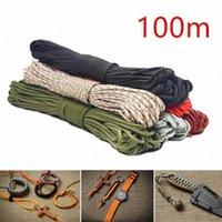 100m Colorido de 4 mm Cuerda de paracaídas luminosa 7 Core Lanyard Rope DIY Umbrella Camping Equipo de supervivencia Escalada de emergencia D4GN #