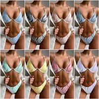 Women Bikinis Set Push Up Swimsuit High Cut Bottom Swimwear Wave Pattern Bathingsuit Beachwear Bikini